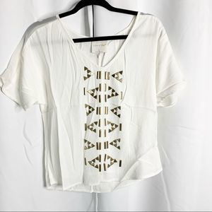 New line & dot white triangle blouse XS